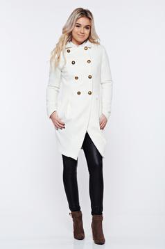 Palton PrettyGirl alb elegant captusit pe interior cu guler ascutit