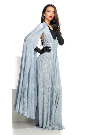 Rochie Ocassion argintie de ocazie cu spatele gol plisata