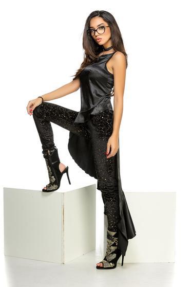 Bluza dama Ocassion neagra asimetrica din material satinat cu volanase