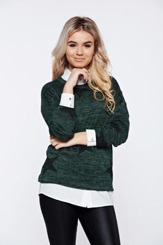 Pulover PrettyGirl verde-inchis cu print casual tricotat cu croi larg