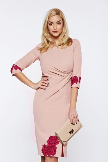 Rochie StarShinerS timeless romance rosa cu imprimeu floral office eleganta tip creion
