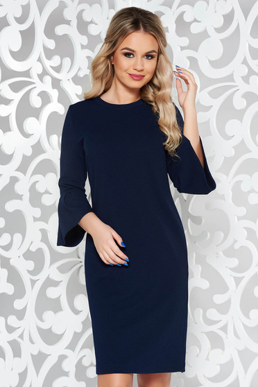 Rochie StarShinerS albastra-inchis office cu croi larg cu maneci clopot