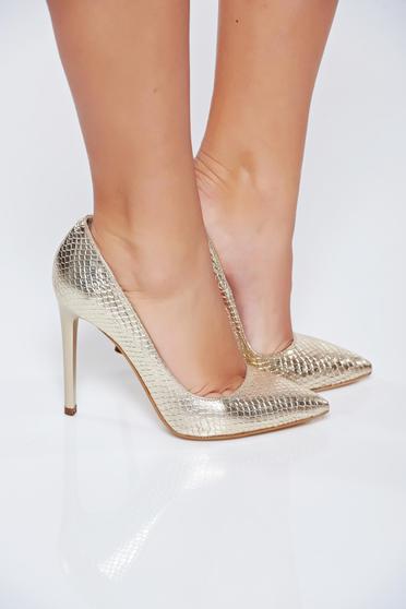 Pantofi stiletto aurii din piele naturala elegant cu toc inalt