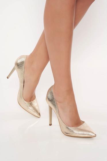 Pantofi stiletto aurii eleganti din piele naturala cu toc inalt