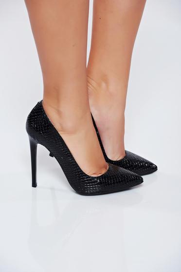 Pantofi stiletto negru din piele naturala elegant cu toc inalt