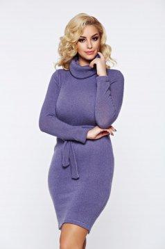 Rochie PrettyGirl lila casual tricotata accesorizata cu cordon