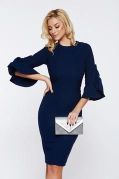 Rochie Artista albastra-inchis eleganta tip creion din stofa cu maneci clopot