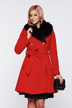 Palton LaDonna rosu elegant din lana cu insertii de blana ecologica detasabile