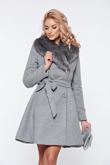 Palton LaDonna gri elegant din lana cu insertii de blana ecologica detasabile