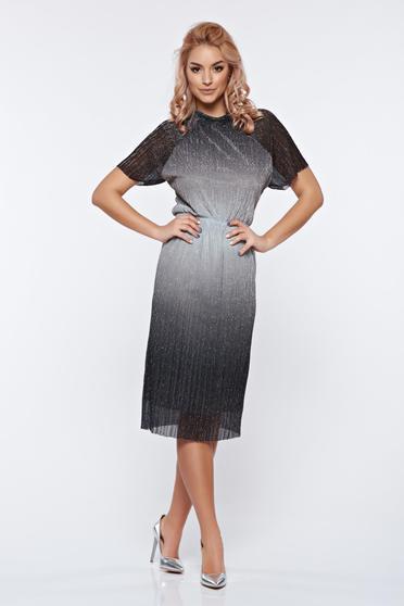 Rochie StarShinerS argintie de ocazie cu aspect metalic cu elastic in talie