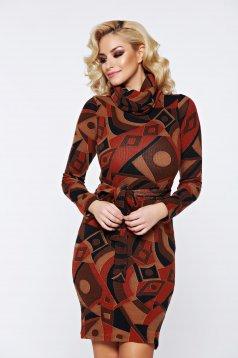 Rochie PrettyGirl maro casual tricotata accesorizata cu cordon