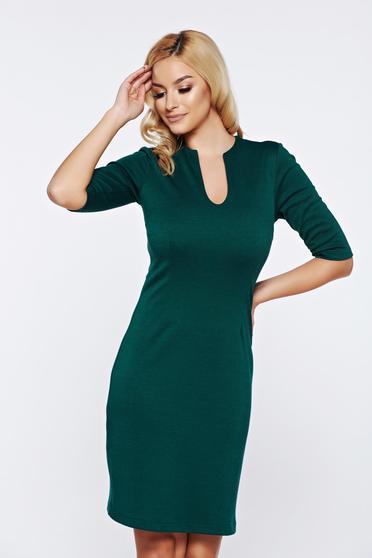 Rochie PrettyGirl verde office cu decolteu in v din material elastic