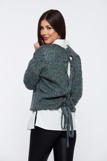 Pulover PrettyGirl verde casual cu croi larg tricotat