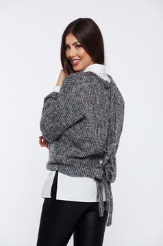 Pulover PrettyGirl gri casual cu croi larg tricotat