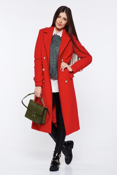 Palton LaDonna rosu casual din lana drept accesorizat cu nasturi