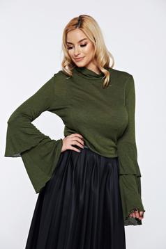 Bluza dama Ocassion verde-inchis casual eleganta cu maneci clopot