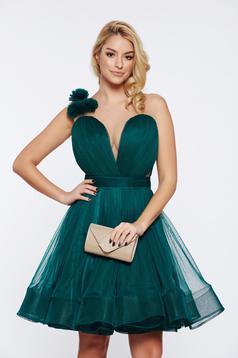 Rochie Ana Radu verde de lux in clos din tul captusita pe interior cu decolteu adanc