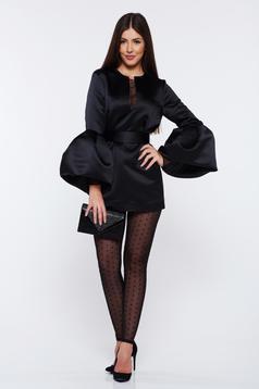Costum damă Ana Radu negru din satin cu pantaloni accesorizat cu cordon