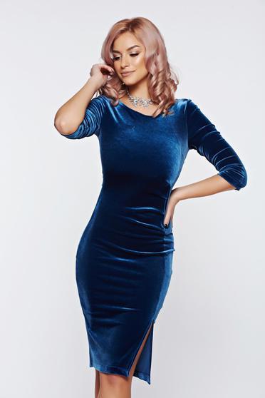 Rochie StarShinerS albastra eleganta tip creion din catifea