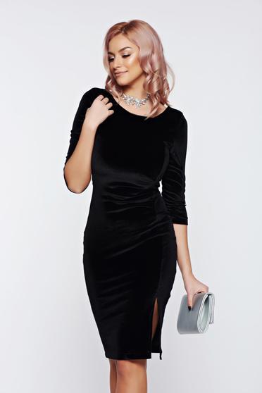 Rochie StarShinerS neagra eleganta tip creion din catifea