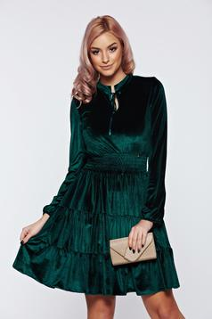 Rochie PrettyGirl verde-inchis de ocazie in clos din catifea