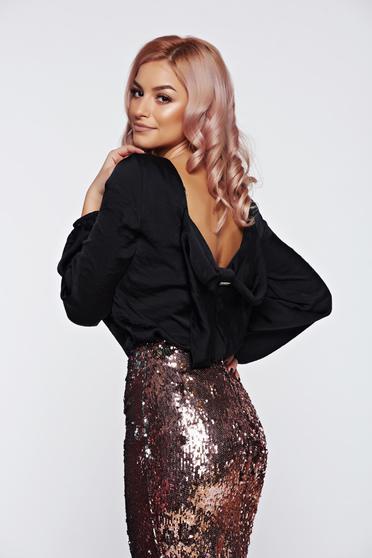 Bluza dama PrettyGirl neagra eleganta cu spatele decupat cu aspect satinat