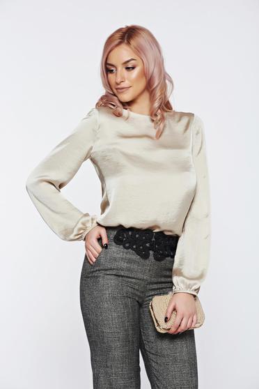 Bluza dama PrettyGirl crem eleganta cu spatele decupat cu aspect satinat