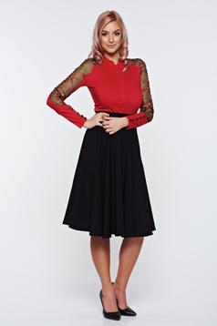 Camasa dama Fofy rosie eleganta din bumbac cu insertii de broderie