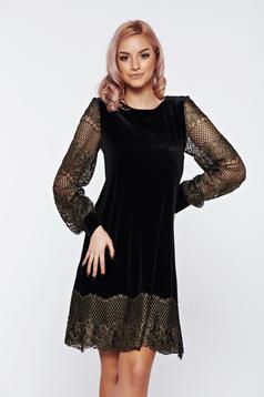 Rochie LaDonna neagra eleganta cu croi larg cu maneca lunga