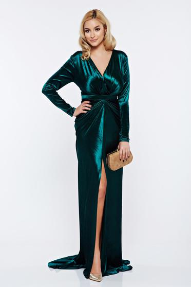 Rochie Ana Radu verde de seara sirena din catifea cu decolteu adanc