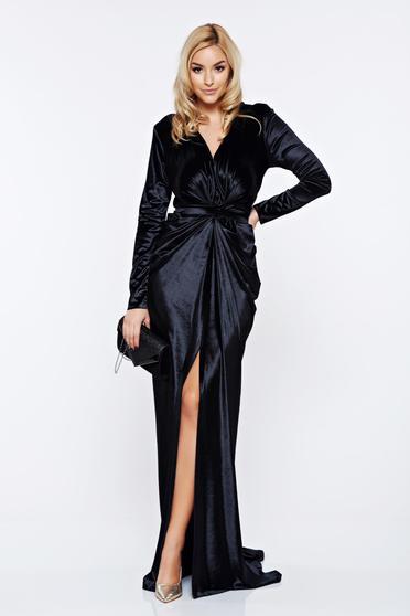 Rochie Ana Radu neagra de lux tip sirena din catifea cu decolteu adanc accesorizata cu cordon