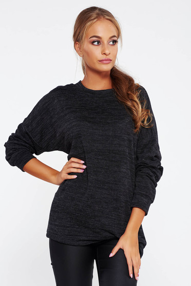 Pulover PrettyGirl gri-inchis casual cu croi larg din material tricotat