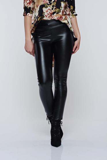 Colanti negru PrettyGirl casual din piele ecologica cu elastic in talie
