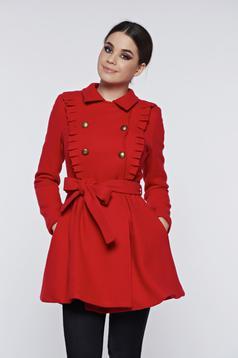Palton PrettyGirl rosu cu volanase accesorizat cu cordon