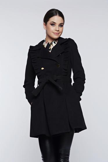 Palton PrettyGirl negru cu volanase accesorizat cu cordon