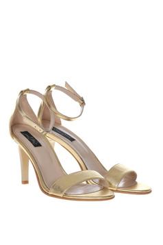 Sandale aurii elegante din piele naturala cu toc inalt