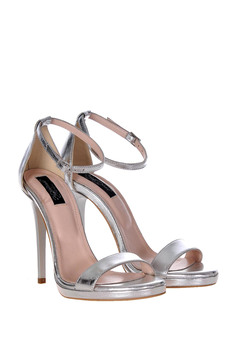 Sandale argintii elegante din piele naturala cu toc inalt