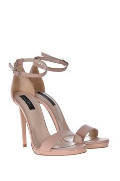 Sandale nude elegante din piele naturala cu toc inalt