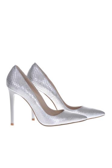 Pantofi stiletto argintii eleganti din piele naturala cu toc inalt