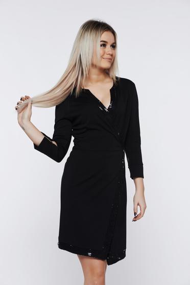 Rochie PrettyGirl neagra eleganta petrecuta cu aplicatii cu paiete
