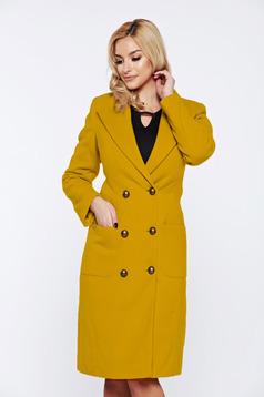 Palton LaDonna galben casual din lana cu buzunare captusit pe interior