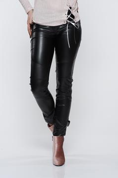 Pantaloni Ocassion negri casual cu talie medie cu aspect metalic
