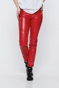 Pantaloni Ocassion rosii casual cu talie medie cu aspect metalic