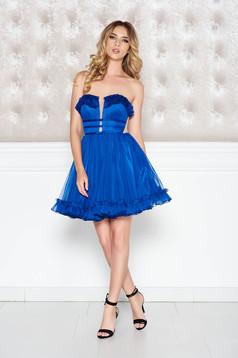 Rochie Ana Radu albastra de lux tip corset in clos din tul captusita pe interior