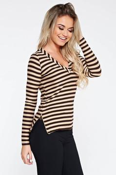 Bluza dama PrettyGirl crem casual din material elastic si fin cu aspect metalic accesorizata cu fermoare