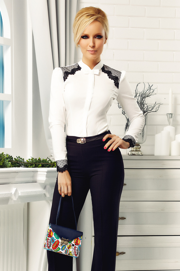 Camasa dama Fofy alba eleganta din bumbac cu aplicatii de dantela