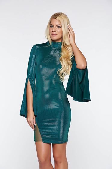 Rochie Artista verde de party scurta din material lucios cu maneci clopot
