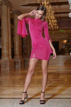 Rochie Artista rosa de ocazie scurta cu maneci clopot
