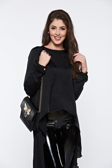 Bluza dama PrettyGirl neagra asimetrica din material vaporos cu aspect satinat