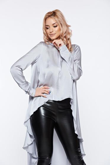 Bluza dama PrettyGirl gri asimetrica din material vaporos cu aspect satinat
